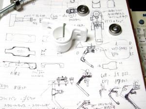 軸受けをグリップに収める パイプ固定用のピローをカメラマウントに