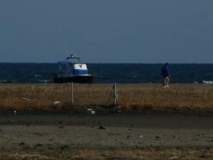 大洗サンビーチにもクルーザーが打ち上がっています