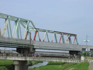 鹿島線の水戸市内の鉄橋 桜川